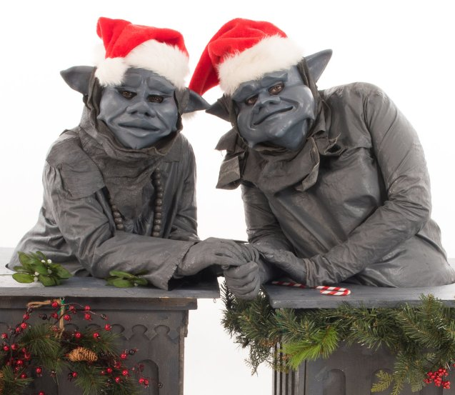 Close Up The Gargoyles Christmas Walkabout Statues The Legendary Stilt Company 1